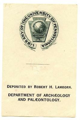 Engraved Bookplate University of Pennsylvania Library Archaeology Palaeontology
