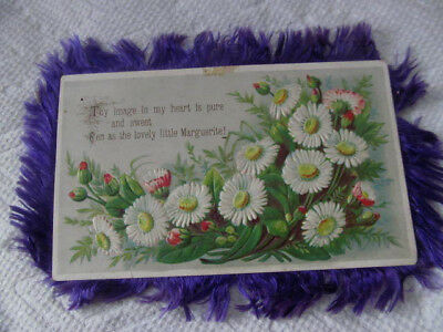 Antique Victorian Fringed Card~Double Sided Embossed Card w/Fringe Edges