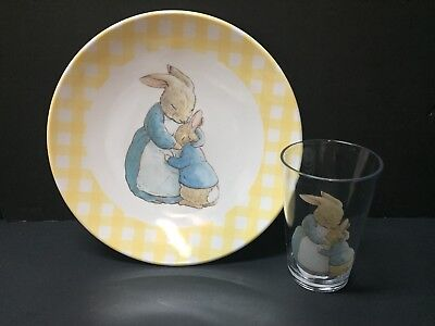 Pottery Barn Kids EASTER Beatrix Potter Peter Rabbit PLATE + TUMBLER Table NEW Y