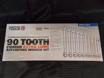 Matco Tools 10 Piece 90 Tooth Combo Extra Long Ratcheting Wrench Set, Size: 10-1