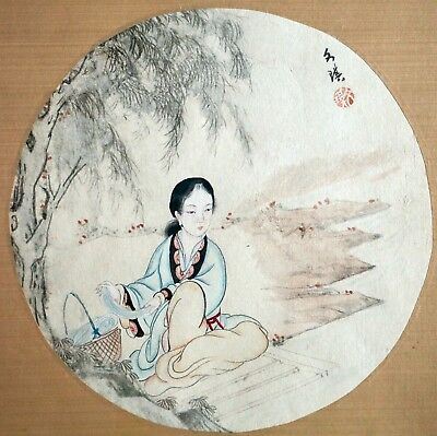 EX CHRISTIE'S - Another Fine Chinese Painting of Beauty by Wen Qi - ca. 1850's