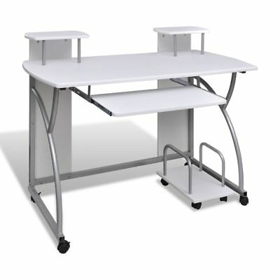 vidaXL Mobile Computer Desk Pull Out Tray White Finish Furniture Office Table