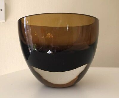 Vintage Heavy Murano Sommerso Style Bowl Smoky Anmber
