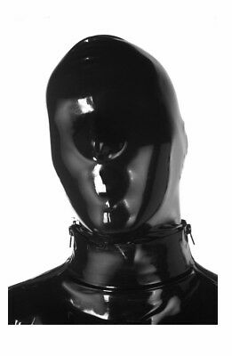 Latex Hood with NOSE HOLES ONLY - BACK ZIP - BLACK - Made in UK / 1109Z