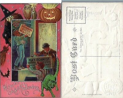 Antique Embossed Halloween Postcard - Witch Owl Jack-O-Lantern