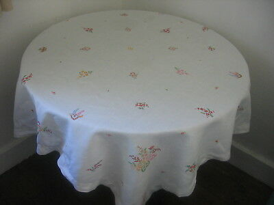 """DELIGHTFUL VINTAGE LINEN TABLECLOTH HAND EMBROIDERED FLOWERS   48"""" x 48"""""""