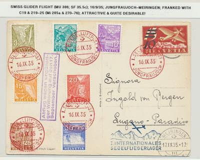 Switzerland 1935 Glider Flight Card (Mu#386 Junfraujoch-Meiringen(See Below)