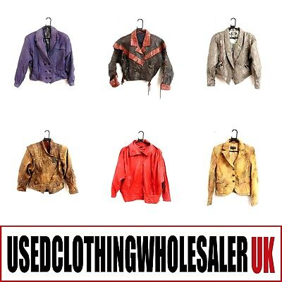 10 WOMEN'S VINTAGE 80s COLOURED REAL LEATHER JACKETS SUEDE HIPSTER WHOLESALE #5