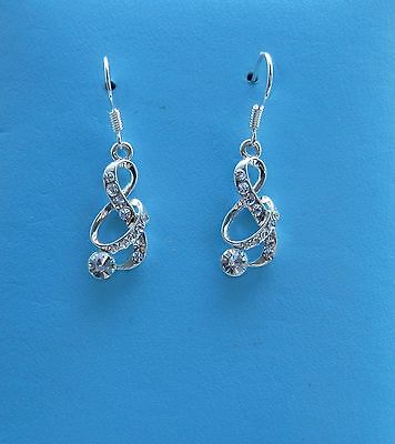 Fashion Jewelry Crystal Rhinestone Dangle Earring Music Note Earring E1282