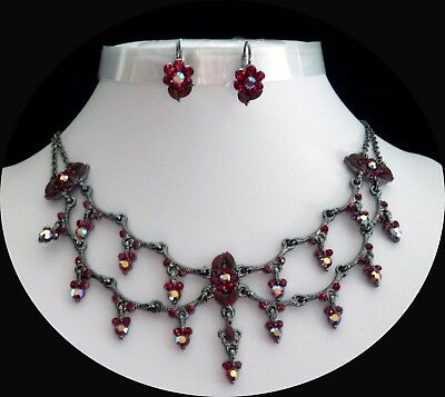 Flowers Style Party Necklace & Earrings Set, Siam/Red Australia Crystal  N3070F