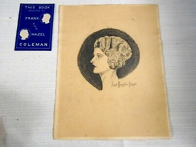 Original Pencil Drawing Art Deco Woman Lovely Eyes Black Shadow Signed F Coleman