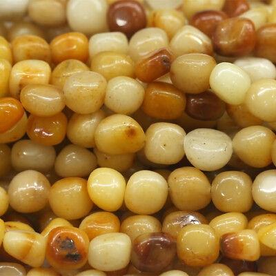 Natural Genuine Yellow Jade Golden Jasper Nugget Loose Beads Free Form 16""