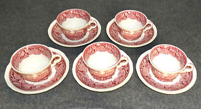 5 Sets Masons Vista Pink, Large Cups & Saucers, Mint