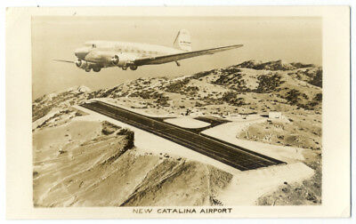 RPPC - UNITED DC3 Flying Over NEW CATALINA ISLAND CA AIRPORT - 1940's