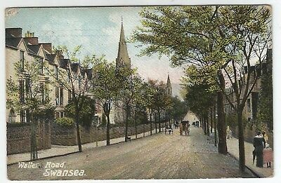 t wales welsh old antique  postcard walter road swansea