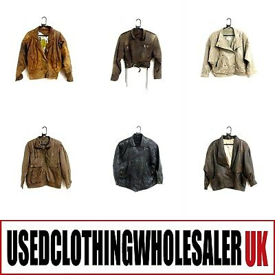 10 WOMEN'S 80s VINTAGE REAL LEATHER JACKETS GLAM ROCK HIPSTER WHOLESALE CLOTHING