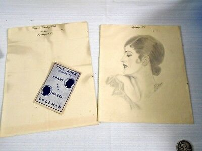 Original Pencil Drawing Art Deco Woman Lovely Eyes Sydney NS Signed F.R Coleman