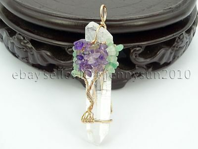 Natural Gemstones Tree of Life Pointed Crsytal Reiki Chakra Copper Pendant