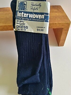 Vtg Interwoven Mens Navy Blue Dress Socks Fits 10-13 USA Made New Nos irregular