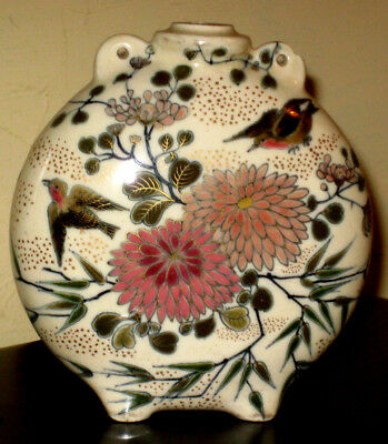 Satsuma style Flask with bird and blossom decoration A/F