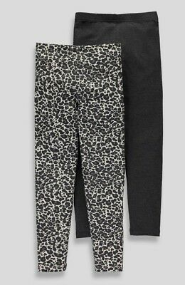 Girls  BNWT 2 pack leopard  Print Leggings  age 6 7 9 years  (EG)