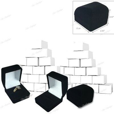 """Black Velvet Ring Boxes for Ring Boxes Wholesale (25) Jewelry Ring Boxes 1 1/2""""T"""