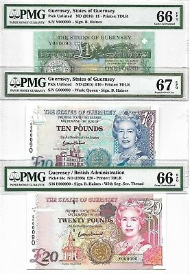 Guernsey / British - 1, 10 & 20 pounds, (2015-16, 1996). Low No.000090. PMG 66-7