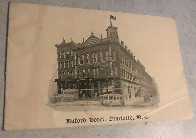 Vintage Buford Hotel Charlotte North Carolina Booklet Late 1800S
