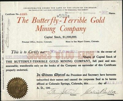 Butterfly - Terrible Gold Mining Co, 1903, Mines San Miguel Co, Count Cancelled