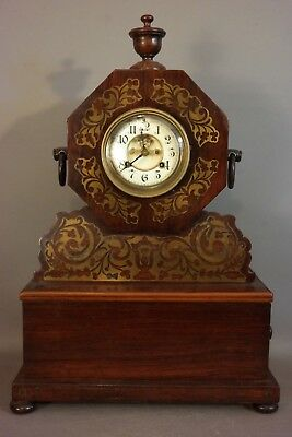 Lg. 19thC Antique VICTORIAN Era WATERBURY Old BRASS INLAY Wood MANTEL CLOCK