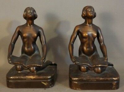 1920's Antique ART DECO BRONZED Spelter NUDE LADY STATUE Old FIGURAL BOOKENDS
