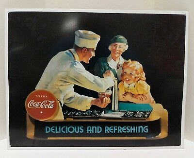 """VINTAGE Coca-Cola COKE Metal Sign """"DELICIOUS AND REFRESHING"""" 1980's DISPLAY ONLY"""
