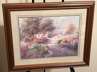 "Homco Home Interiors Picture 16 x 13"" Artist Lee Parkinson '90 Country Floral"