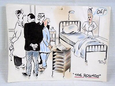Great Color Cartoon Drawing Doctors Patient Titled The Rounds by Myles Morley