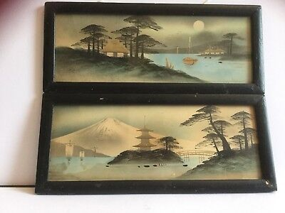 Pair Of Very Old Vintage Oriental Japanese Chinese Hand Painted Framed Pictures