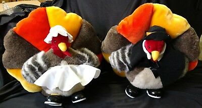 A & A Colorful Plush Turkey Gobbler & Hen Thanksgiving Fall Autumn Decoration