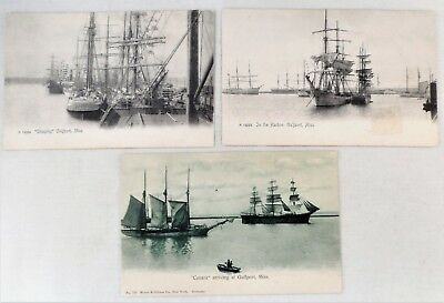 3 Antique Vtg Gulfport Miss. Postcards Sailing Ships in Harbor Undivided Back