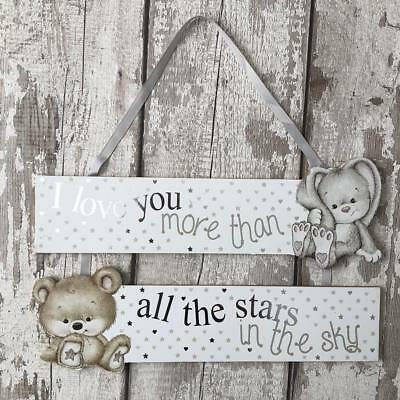 Cute Baby Nursery Decoration Plaque Love You More Than All The Stars BB0211-BUN