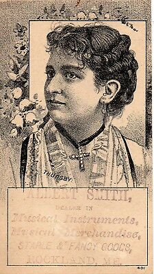 51298. ca 1885 Trade Card Albert Smith Musical Instruments Rockland Maine ME