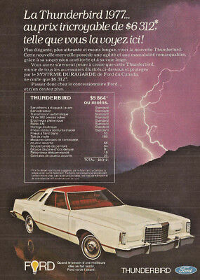 1977 Ford Thunderbird Automobile Original Ad In French