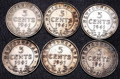 Lot of 6x 1941c Newfoundland 5 Cents Silver Coins - 92.5% Silver Coins