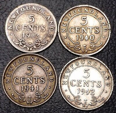 Lot of 4 Newfoundland 92.5% Silver 5 Cents Nickels - 1912, 1940c, 1941c, 1942c