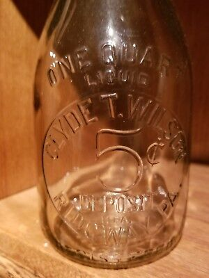 Clyde  Wilson 5 cent deposit quart milk bottle Ridgway pa