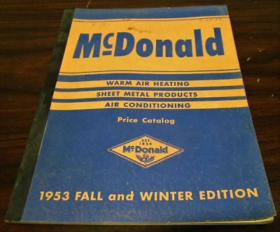 Vintage 1953 Mcdonald Heating Air Metal Products Dealer 122 Pg Price Catalog P