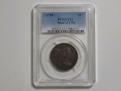 1794 Flowing Hair Large Cent - PCGS F12