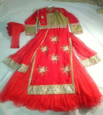 Red and Gold Pajami Suit with Petticoat/Under Dress and Attached Dupatta