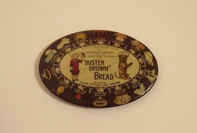 Original Buster Brown Bread Tin Advertising Sign Pocket Mirror Copyright 1907