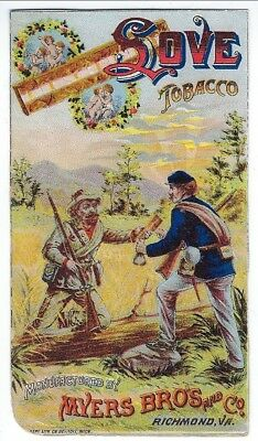 "Trade Card, Myers Bros. and Co. ""Love"" Brand Tobacco, Johnny Reb & Yank, c1880s"