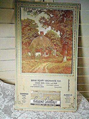 Vintage 1937 Calendar-Berne Equity Exchange Co.,Dundon Coal-Full Pad& Cover