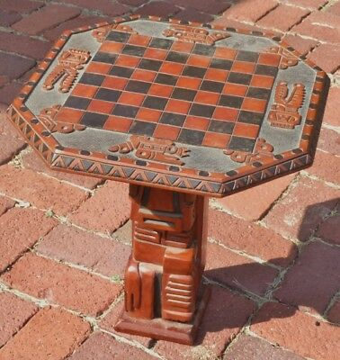 Vintage Hand Carved Mayan/Aztec/Inca? Wooden Chess Board & Stand + Bonus Pieces